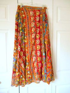 Vintage India Embellished cotton Maxi wrap Skirt by houuseofwren
