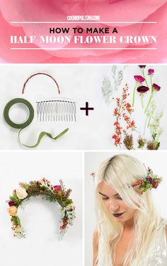 "HALF-MOON FLOWER CROWN: Put together this pretty holiday flower crown with a plastic side comb, moss-covered wire, green flower tape, and wintry flowers and branches. Make this look from flower crown designer Christy Doramus of Crowns by Christy by measuring wire to fit the back of your head in a ""U"" shape and then position the comb underneath the wire. Weave the green tape between the teeth and the comb to bind them together. Find the full tutorial and expert tips, plus more fun flower…"