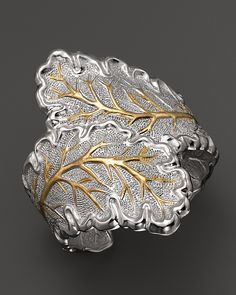 Buccellati Double Oak Leaf Cuff Bracelet with Gold Accents  | Bloomingdale's