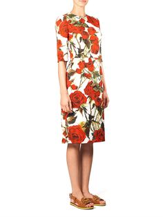 Dolce & Gabbana Rose-print brocade dress