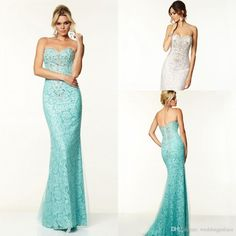 2015 Newest Hot Sale Sweetheart Lace Crystal Beaded Floor-length Custom Made Long Sheath Lace Light Blue Evening Prom Dresses from Weddingpalace,$93.83 | DHgate.com