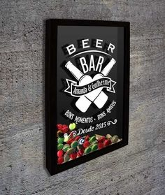 Quadro para Tampinhas para Personalizar - Beer Bar do Casal... - Quadro Novo - Quadros Porta Rolhas