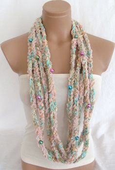 Crochetted Scarf, Infinity Rope Scarf, Chain Scarf, Beaded Scarf arzus on etsy $19.90