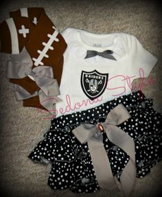 NFL Oakland Raiders baby girl infant onsie outfit w bloomers sizes NB to 4  Any team on Etsy ff889144e