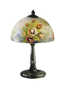 A rose by any other name . would probably be the Dale Tiffany Rose Dome Table Lamp. This lamp has an intricate metal base with an antique bronze finish. Rose Dome, Tiffany Table Lamps, Tiffany Rose, Contemporary Table Lamps, Stained Glass Lamps, Hand Painting Art, Lamp Shades, Light Table, Glass Art