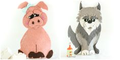 3 Little Pigs Finger Puppet Pattern Set. INSTANT DOWNLOAD by Ebony Shae Designs