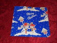VTG MERRY CHRISTMAS WRAPPING PAPER GIFT WRAP WW2 ERA BLUE WITH SNOWMEN NOS