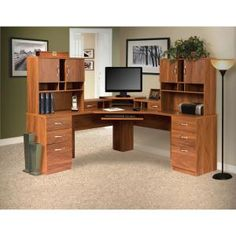 OS Home & Office Furniture Office Adaptations L-Shape Computer Desk with Hutches
