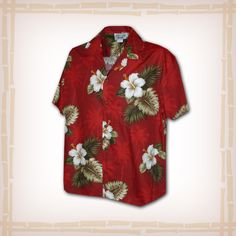 "FREE SHIPPING – EVERY ORDER, EVERY DAY! Hawaiian Shirt ""Hibiscus & Palm Trees"" By Pacific Legend – Red  Coconut shell buttons and matching print engineered chest pocket. This Pacific Legend Hawaiian Shirt Garment is 100% Cotton and MADE IN HAWAII. http://hawaiianshirtdude.com/product/hawaiian-shirt-hibiscus-palm-trees-pacific-legend-red/"
