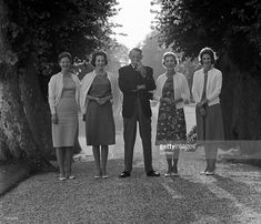 getty: Danish Royal Family in the gardens of Fredensborg Palace, August 24, 1964, shortly before the family left for Greece for Anne Marie's wedding-l-r Crown Princess Margrethe, Princess Benedikte, King Frederik, Queen Ingrid, Princess Anne-Marie