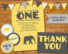 Elephant Birthday Party Suite Printables by TulleAndMint on Etsy, $25.00