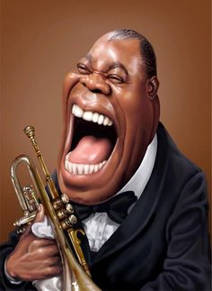Louis Armstrong #Caricature #FunnyFaces
