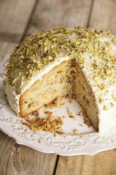 Rhubarb, Orange, Pistachio & Cardamom Cake Vegetarian Recipe