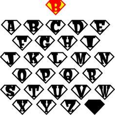 Maak je eigen superheld embleem door deze letters uit te printen en in te laten kleuren. Elk kind z'n eigen letter natuurlijk!