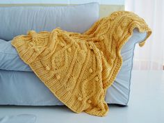 KNITTING PATTERN for chunky cotton cable knit throw. $6.00, via Etsy.