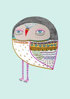 Pretty Baby Owl. kids room art - illustration art print - wall decor
