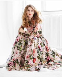 Olivia Palermo in full spring for her latest editorial for Fashion Canada. #OliviaPalermo #MaxiDress #Spring #Summer #ModestFashion #StyleOfArabiaLoves
