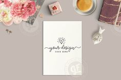 Styled Stock Photo | Styled Desktop | Artwork Coffee Notebook Flowers | Burgundy Gold | Flatlay Mockup | Modern & Feminine GFSP0037