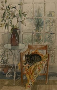Richard Bawden - Cat and Lillies - Watercolour Pretty Kitty, Pretty Cats, Cat Illustrations, Illustration Art, Cat Things, Art For Art Sake, Watercolor Portraits, Pictures To Paint, Cat Stuff