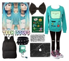 """emo BMO ..."" by nefelisas ❤ liked on Polyvore featuring New Look, Vans and Valentino"