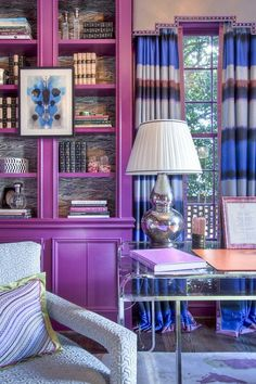 Here are five picture-perfect examples of tertiary colors to inspire you and your home's palette. #hunkerhome #tertiary #homecolorpalette #homecolorideas #tertiarycolorideas Purple Bedroom Walls, Grey Bedroom Furniture, Purple Rooms, Bedroom Colors, Bedroom Ideas, Interior Design, Luxury Interior, Modern Interior, Pink