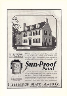 Pittsburgh Plate Glass Sun-Proof Paint 1926 print ad Drummer Mansion