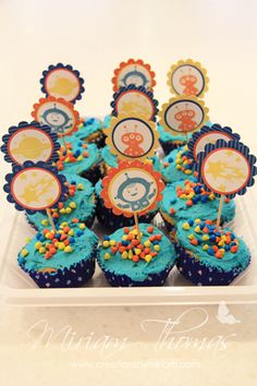 """Party cupcake toppers using """"Blast Off"""" stamp set. This blog post by Miriam Thomas has photos of a themed birthday party using decorations created entirely from Stampin' Up! It's awesome!! :)"""