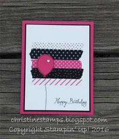Quick & cute birthday card featuring Pop of Pink Washi Tape & Balloon Celebration stamp set. #stampinup #popofpink #ballooncelebration