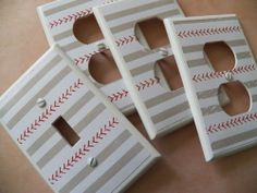 #SW411 - BASEBALL STITCH - 4 PC Light Switch Cover + Electrical Outlet Set - NEW #Leviton