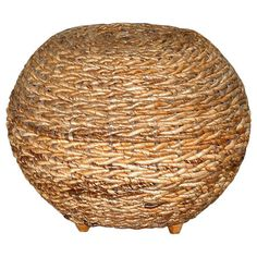 Woven wicker ottoman with a wood frame. Product: Ottoman Construction Material: Wood and wicker Color: Natural Dimensions: H x Diameter Furniture Decor, Living Room Furniture, Unique Furniture, Accent Furniture, Outdoor Furniture, Office Stool, Wicker Ottoman, Ottoman In Living Room, Joss And Main