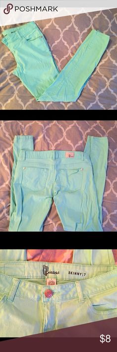 💕Mint Skinny Jeans!🍉 CP Jeans Brand from Dillard's mint/teal skinny jeans! In EXCELLENT condition, extremely soft and stretchy material. These jeans are uber comfy and thick. Size 7 would fit size 6/7 in woman's and 7/8 in juniors. Worn twice, but zero flaws! No tears, rips, stains etc. From a pet/smoke free home. No trades but feel free to make me an offer!💙 Celebrity Pink Jeans Skinny