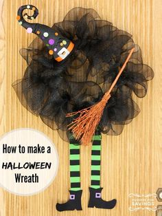 Here is something to dress up your door this halloween, check out how to make a Halloween wreath.