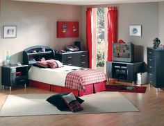 Appealing Designing A Boys Bedroom: Awesome Childrens Bedroom Designs Boys With Single Bed Frame With Headboard Storage Black Wooden Dresser Nightstand Red Curtain Tv Cabinet Gray Carpet Red Throw Rug On Laminated Floor And Cream Wall ~ stampead.com Bedroom Design Inspiration