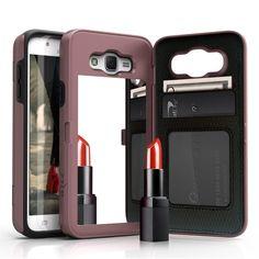 Zizo VTE Mirror Kickstand Wallet Galaxy J7 Case - Rose Gold