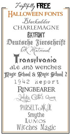 Frightfully Free Halloween Fonts! With links to the site for each font.
