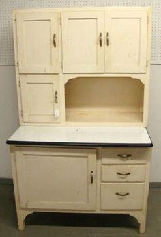 Antique Hoosier  Cabinet just like mine but mine has original slide up door put together with blue jeans