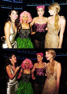 Selena Gomez, Nicki minaj, Katy Perry, Taylor Swift