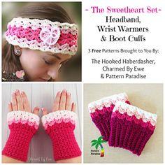 The Sweetheart Set - Free crochet boot cuffs, wrist warmers and headband pattern.