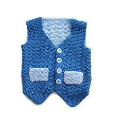 Hand knitted Blue Boys Business Waistcoat. £20.00, via Etsy.