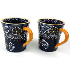Global Crafts Set of 2 Handmade Flared Cups in Blue - Encantada Pottery (Mexico) (Set of 2 Hand-painted Flared Cups in Blue) (Ceramic)