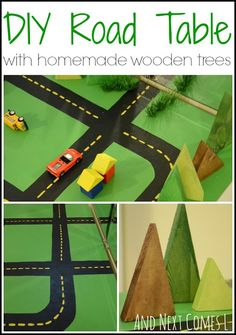 Diy Road Table With Homemade Wooden Trees