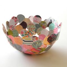 Cute upcycled bowl from paper scraps!  via homework Looksi Square