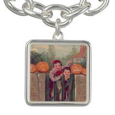 Boys Jack O Lantern Pumpkin Fence Bracelets