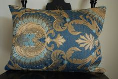 """Recycled Silk Cotton Upholstery Fabric Swatch Decorative Pillow Cover In Shades Of Blue And Gold Size 12x16""""  437"""