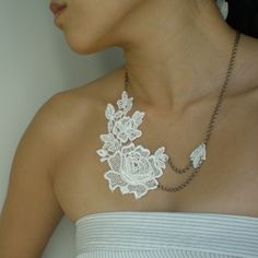 Lace Brass Necklace  DANIELLA  Ivory Lace Antiqued by LiveInStyle, $26.00