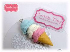 Kawaii Fashion Accessories Tripple Scoops Ice cream Cone Pendant Charms