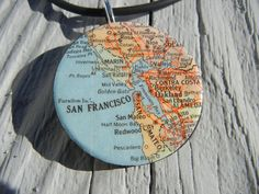 Map Jewelry San Francisco San Mateo Oakland Marin California  - Vintage Map Pendant map Necklace. $10.00, via Etsy.