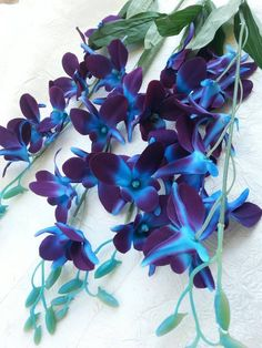 Galaxy orchid stem, artificial, purple blue orchid stems, singapore orchids, island orchid, silk flo
