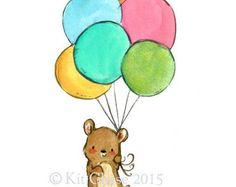Vivero arte--Globos del oso - impresión del arte
