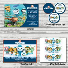 Octonauts Party Package  Invitation Thank by SandInMyShoesDesigns, $25.00